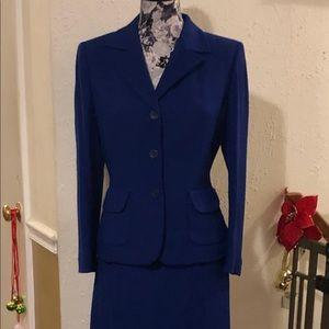 Royal blue Kasper skirt suit